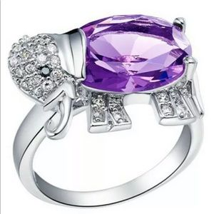 NEW Elephant Women Purple Crystal Silver Ring